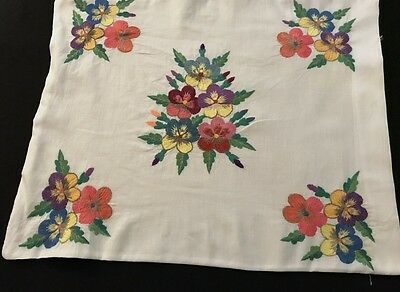 "Old Vintage Hand Embroidered Colorful Pansies Small Pillowcase, 19 x 15"","