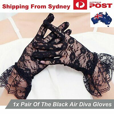 Black Woman Lace Short Gloves Lady Prom Opera Costume Bridal Fancy Ruffle Party