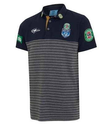 NSW Blues 2017 Mens Striped Team Polo Shirt S-5XL BNWT State of Origin