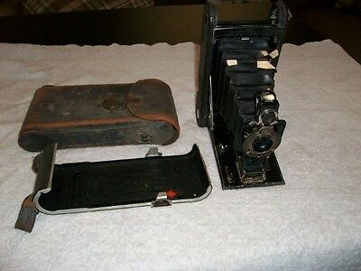 Vintage Kodak Junior Fold Out Camera With Leather Case Buying For Decoration