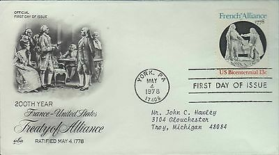 1978 - Fdc - 200Th Year Treaty Of Alliance - France/usa - York Pa - May 4