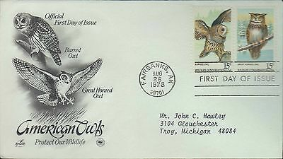 1978 - Fdc - American Owls - Protect Our Wildlife - Fairbanks Ak - 26 Aug