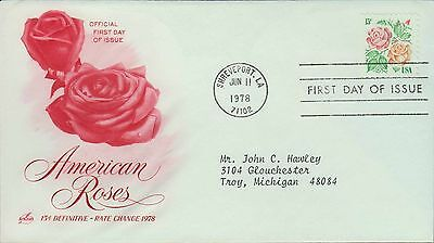 1978 - FDC - AMERICAN ROSES - 15c DEFINITIVE - RATE CHANGE 1978