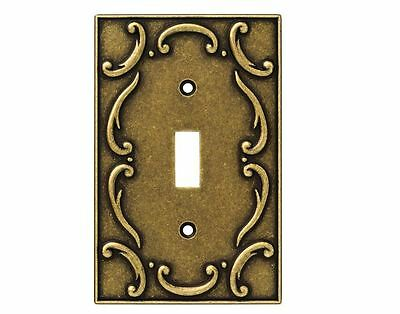 Burnished Antique Brass French Lace Single Gang Light Switch Toggle Wall Plate