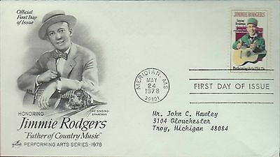 1978 - Fdc - Honoring Jimmie Rodgers - Meridian Ms - 24 May