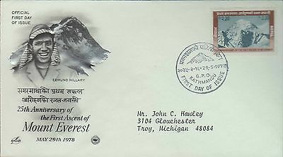 1978 - Fdc - Mount Everest Ascent - Edmund Hillary - Kathmandu - 29 May