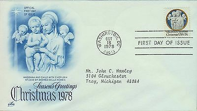 1978 - Fdc - Seasons Greetings Christmas 1978 Madonna And Child