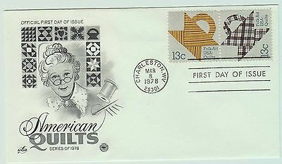1978 FDC - CHARLESTON WV - MAR 8TH - AMERICAN QUILTS - 2x 13 CENTS