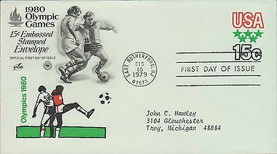 1979 - Fdc - 1980 Olympic Games - 15 Cent Embossed Stamped Envelope