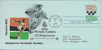 1979 - Fdc - 1980 Olympic Games - 22 Cent Aerogramme / Via Airmail - Blue