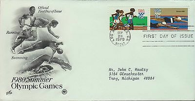 1979 - Fdc - 1980 Summer Olympic Games - Running / Swimming