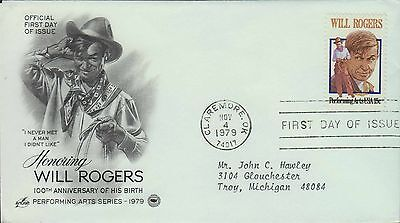 1979 - Fdc - Honoring Will Rogers - Claremore Ok