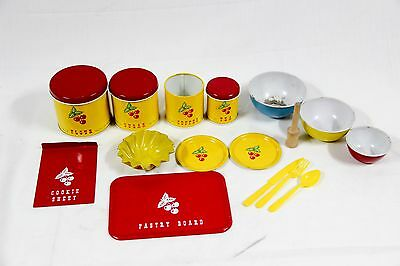Vintage Childrens Toy Pastry Canister Set Plates Bowls Cherry Utensils Kitchen