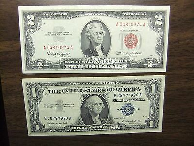 Us Paper Money 1928,1963-2 Dollars  Red Seal & 1 Dollar 1935 & 1957 -4 Note Lot