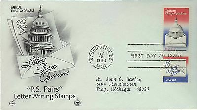 1980 - Fdc - Ps Write Soon - Letter Writing Stamps - Washington Dc - Feb 25