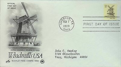 1980 - Fdc - Windmills Usa - Dutch - Lubbock Tx - Feb 7