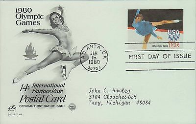 1980 - Fdc Postcard - 1980 Olympic Games - 14 Cent International Surface Rate
