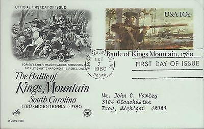1980 - Fdc Postcard - Battle Of Kings Mountain South Carolina - 10 Cent