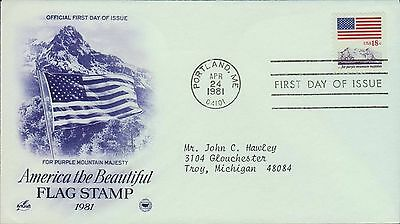 1981 - Fdc - American The Beautiful - Flag Stamp 1981