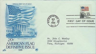 1981 - Fdc - American The Beautiful - Flag Stamp 1981 - Variation