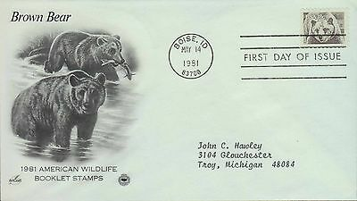 1981 - Fdc - American Wildlife Booklet Stamps - Brown Bear