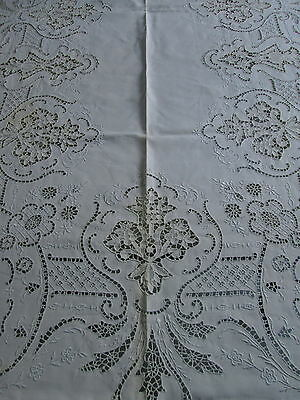 ANTIQUE ITALIAN LACE TABLECLOTH 68x104 Banquet Reticella Cutwork Filet Flowers