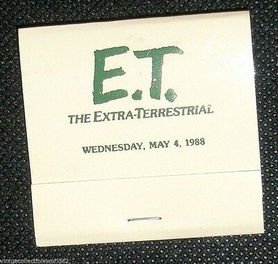 1988 E.T. THE EXTRA-TERRESTRIAL MOVIE WEDNESDAY, MAY 4, 1988 Matchbook