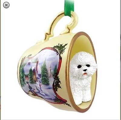 Victorian Trading Co Bichon Frise in Tea Cup Christmas Ornament
