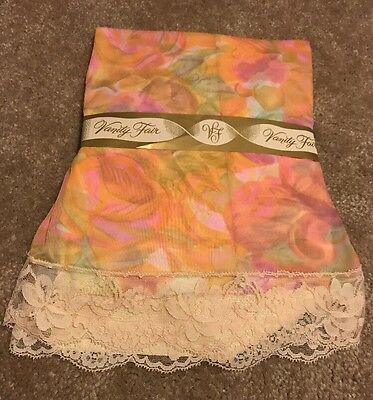 NOS Vintage Vanity Fair Nylon Tricot Pink Floral Half Slip Lace Sz Small 22""