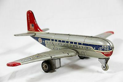NWA Tin Friction Toy Airplane Japan Northwest Airlines N 74601 Alps