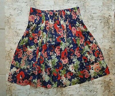 Anthropologie Parameter Women's Skirt Floral Pockets with Snap Button Sz. 4