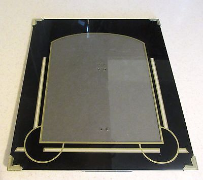 Art Deco Black Picture Frame Reverse Painted Glass 12 X 10 Inches