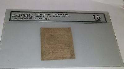 Pennsylvania Colonial Currency - April 25 1776 9 Pence  PMG GRADED