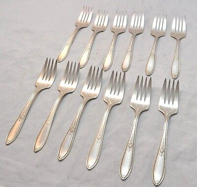 12 Antique Wm Rogers & Son Debutante Pattern Silverplate Salad Forks