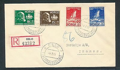 Norway 1941 Lifeboat Society Rescue Colin Archer registered first day cover