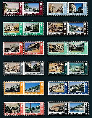 Gibraltar 1971 definitives set of 32 in setenant pairs NH