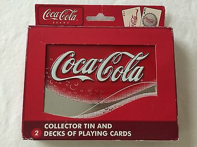 NEW Coca Cola Collector Tin and 2 Decks of SEALED Playing Cards Bicycle