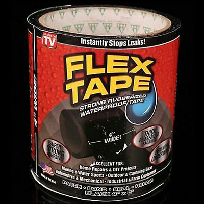 "Flex Tape Black 4"" 5' Strong Rubberized Seal Tape Strong Rubberized"