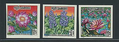 Cambodia 231-3 1970 Water Lily Flowers IMPERF SET NH