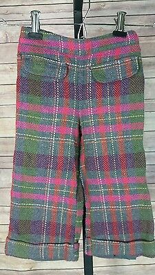 girls size 2t plaid wool blend gymboree winter cuffed lined pants gray pink