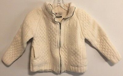 Carraig Donn Ivory Merino Wool Full Zip Kids Cardigan Sweater M Medium