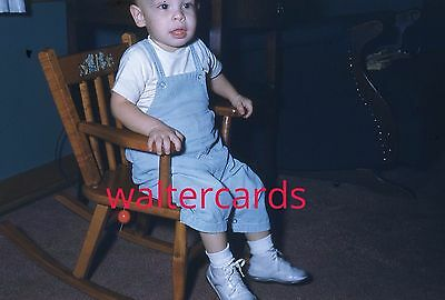 KODACHROME Red Border 35mm Slide 1950s Baby Fashion Cute Overalls Toy Chair