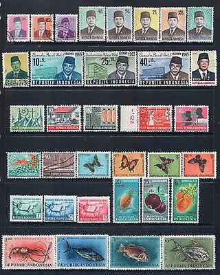 INDONESIA - Mixed Lot of 34 Stamps incl Sets or Part Sets Good Used to MLH