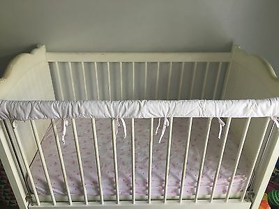 Reversible Baby Cot Crib Teething Rail Cover Protector - Baby Pink
