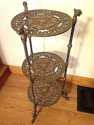 Antique Hollywood Regency Brass 3Tier Plant Stand Table Dragon Gargoyle Claw GIM