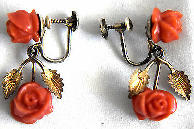 Vintage Chinese Silver and Natural Untreated Coral Floral Screwback Earrings