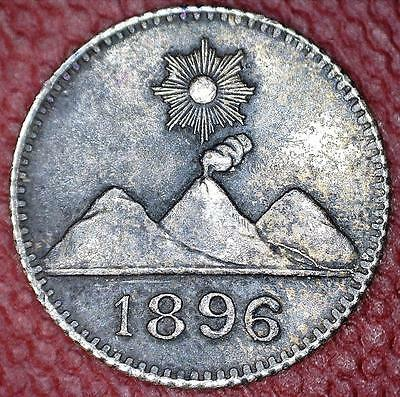 1896 Guatamala 1/4 Real Silver Coin - Very Small Coin - Scarce Type