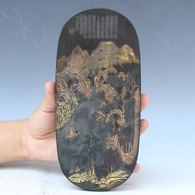 China Exquisite Hand-carved landscape Text carving Ink block