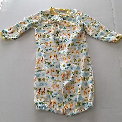 Carters Unisex One Piece Animal Print Outfit With Yellow Collar Size 6 Months