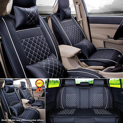 L Size PU Leather Seat Covers 5-Seat Sedan SUV Front+Rear w/ Neck Lumbar Pillows